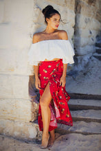 Load image into Gallery viewer, Poppy - Wrap Maxi Skirt - Red Floral-SOPHIA + CO-SOPHIA + CO
