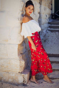 Poppy - Wrap Maxi Skirt - Red Floral-SOPHIA + CO-SOPHIA + CO