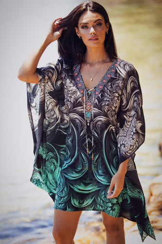 Secret Garden - Mid Length Silk Kaftan Dress-SOPHIA + CO-SOPHIA + CO