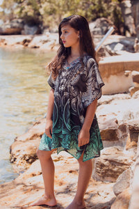 Secret Garden - Girls Silk Kaftan Dress - tweens-SOPHIA + CO-SOPHIA + CO