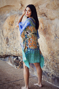 Alize - Crepe Silk Kaftan Dress - 100cm-SOPHIA + CO-SOPHIA + CO