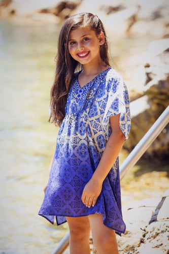 Deep Blue Magic - Girls Silk Kaftan Dress - Tweens-SOPHIA + CO-SOPHIA + CO