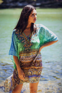Aegean Dreams - Silk Kaftan Dress - 100cm-SOPHIA + CO-SOPHIA + CO