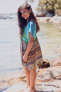 Aegean Dreams - Girls Silk Kaftan - Tweens-SOPHIA + CO-SOPHIA + CO