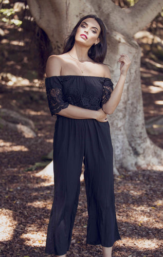 Amber - Jump Suit - Black with Lace-SOPHIA + CO-SOPHIA + CO