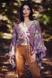 Abbey Dusk - Pink Floral Top with bell sleeves-SOPHIA + CO-SOPHIA + CO