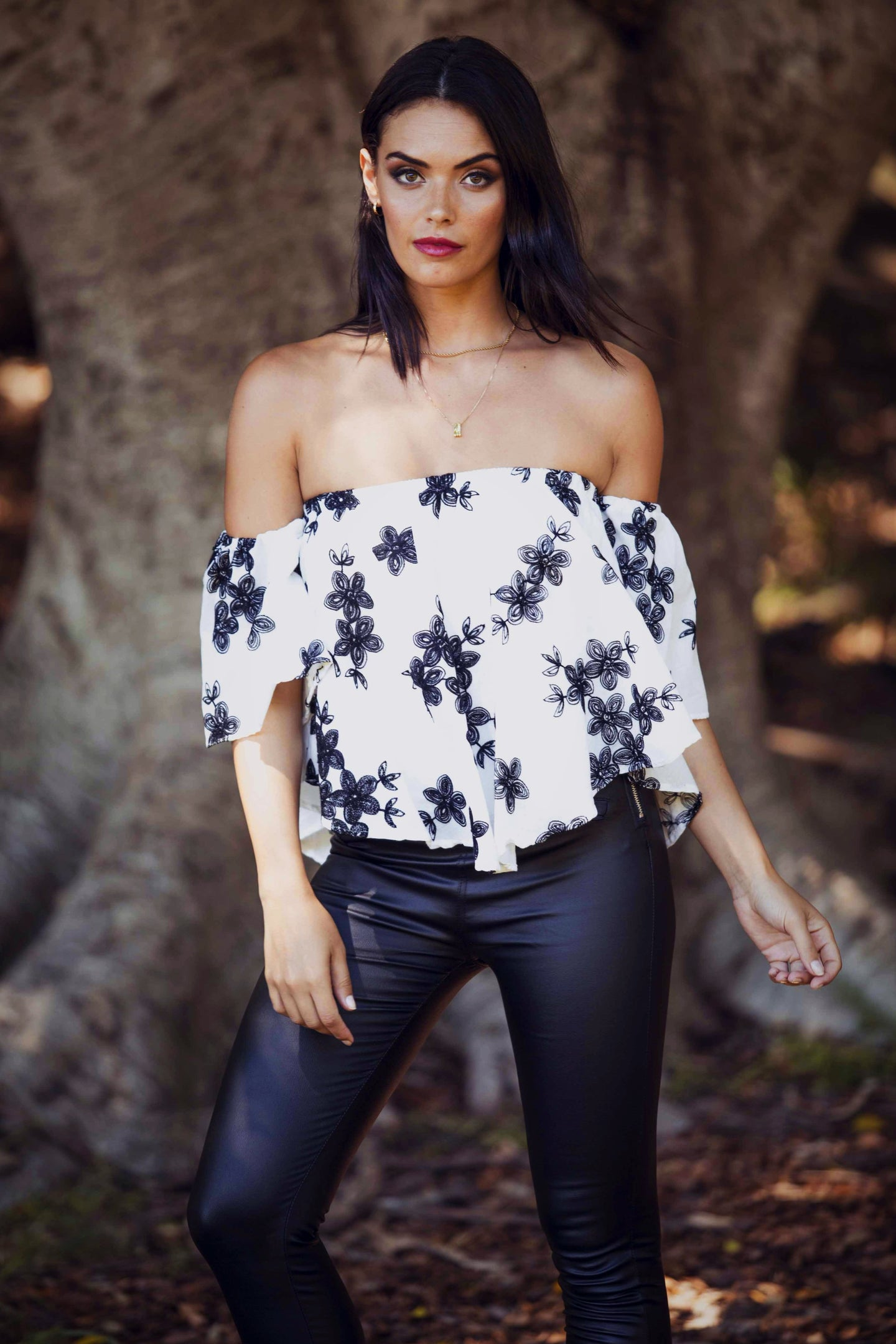 Georgia - Off the Shoulder Top - White & Black Floral Print-SOPHIA + CO-SOPHIA + CO
