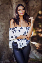 Load image into Gallery viewer, Georgia - Off the Shoulder Top - White & Black Floral Print-SOPHIA + CO-SOPHIA + CO