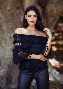Suzanna - Off the Shoulder Black Lace Top-SOPHIA + CO-SOPHIA + CO