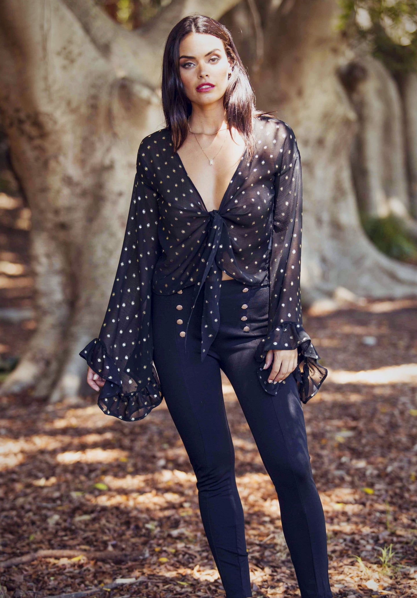 Shiva - Bell Sleeve - Tie Top - Black with Gold Polka Dot-SOPHIA + CO-SOPHIA + CO
