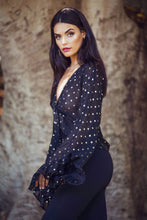 Load image into Gallery viewer, Shiva - Bell Sleeve - Tie Top - Black with Gold Polka Dot-SOPHIA + CO-SOPHIA + CO