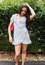 Load image into Gallery viewer, Babydoll Frill Wrap-Around Dress - White with Black Polka-Dots-SOPHIA + CO-SOPHIA + CO