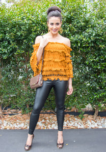 Off the Shoulder Lace Top - Rust-SOPHIA + CO-SOPHIA + CO