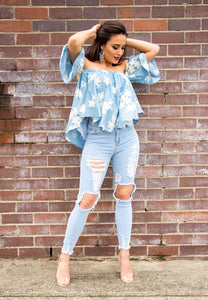 Off The Shoulder Top - Light Blue with White Floral-SOPHIA + CO-SOPHIA + CO