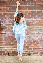 Load image into Gallery viewer, Off The Shoulder Top - Light Blue with White Floral-SOPHIA + CO-SOPHIA + CO