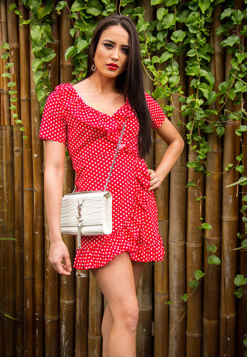 Babydoll Frill Wrap Around Dress - Red with White Polka-Dots-SOPHIA + CO-SOPHIA + CO