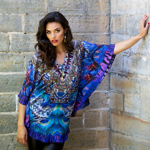 Pacific Velvet - Butterfly Silk Kaftan Top-SOPHIA + CO-SOPHIA + CO