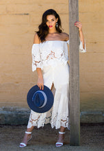Load image into Gallery viewer, Calf-Length Skirt and Off the Shoulder Top Set - White Lace-SOPHIA + CO-SOPHIA + CO