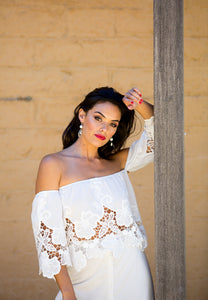 Calf-Length Skirt and Off the Shoulder Top Set - White Lace-SOPHIA + CO-SOPHIA + CO