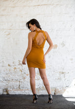 Load image into Gallery viewer, Mesh Back Stretch Lace Mini-Dress - Mustard-SOPHIA + CO-SOPHIA + CO