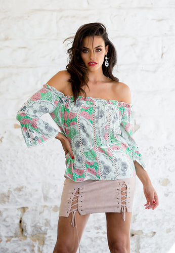 Lace Up Mini-Skirt and Off the Shoulder Top Set - Floral Pink and Green-SOPHIA + CO-SOPHIA + CO