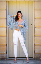 Load image into Gallery viewer, Abbey Dusk - Wrap Top with Bell Sleeves - Baby Blue Floral-SOPHIA + CO-SOPHIA + CO