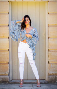 Abbey Dusk - Wrap Top with Bell Sleeves - Baby Blue Floral-SOPHIA + CO-SOPHIA + CO