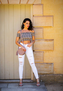Off the Shoulder Stretch Top - Leopard Print-SOPHIA + CO-SOPHIA + CO