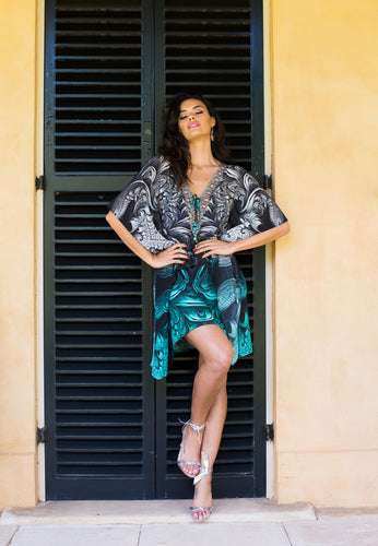 Secret Garden - Silk Kaftan Dress - 100cm-SOPHIA + CO-SOPHIA + CO