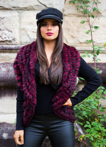 Freda Fur Vest - in Deep Cherry-SOPHIA + CO-SOPHIA + CO
