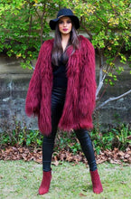 Load image into Gallery viewer, Ava Faux Fur Jacket - Cherry-SOPHIA + CO-SOPHIA + CO