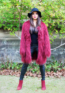 Ava Faux Fur Jacket - Cherry-SOPHIA + CO-SOPHIA + CO