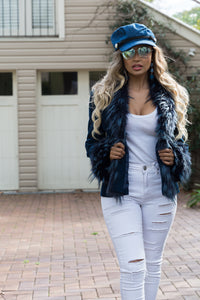 Saxon Corduroy with Faux Fur - in Navy Blue-SOPHIA + CO-SOPHIA + CO