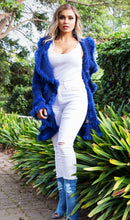 Load image into Gallery viewer, Lavinia Cardigan with Fur - in Royal Blue-SOPHIA + CO-SOPHIA + CO