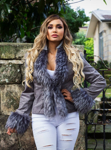 Saxon Corduroy Jacket with Faux Fur - in Silver Grey-SOPHIA + CO-SOPHIA + CO