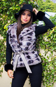 Suzanna Faux Fur Vest - in Smokey Grey-SOPHIA + CO-SOPHIA + CO