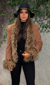 Saxon Corduroy Jacket with Faux Fur - in Caramel-SOPHIA + CO-SOPHIA + CO