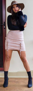 Faux Suede Lace-up Skirt - in Blush Pink-SOPHIA + CO-SOPHIA + CO