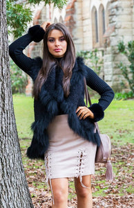 Alexia Fur Vest - in Black-SOPHIA + CO-SOPHIA + CO