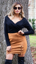 Load image into Gallery viewer, Caramel Faux Suede Skirt-SOPHIA + CO-SOPHIA + CO