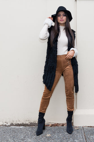 Faux fur lace up stretch camel pants-SOPHIA + CO-SOPHIA + CO