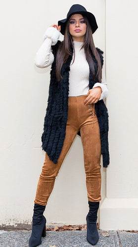 Tatiana Fur Vest - in Black-SOPHIA + CO-SOPHIA + CO