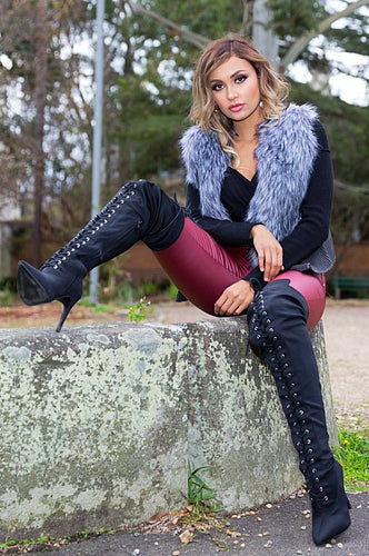 Peta Faux Fur Vest - in Grey-SOPHIA + CO-SOPHIA + CO
