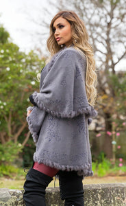 Audrey Fur Pashmina - in Grey-SOPHIA + CO-SOPHIA + CO