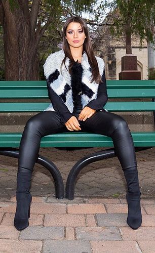 Channel Multi Faux Fur Vest - in Black, Grey & White-SOPHIA + CO-SOPHIA + CO
