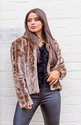 Carmen Faux Fur Jacket - Honey Blonde-SOPHIA + CO-SOPHIA + CO