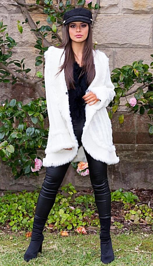 Lavinia Fur Cardigan - in White-SOPHIA + CO-SOPHIA + CO