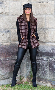 Callista Faux Fur Vest - in Brown-SOPHIA + CO-SOPHIA + CO