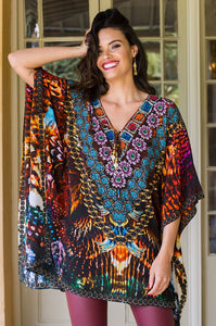 Cherry Tribe - Silk Kaftan Mini Dress-SOPHIA + CO-SOPHIA + CO