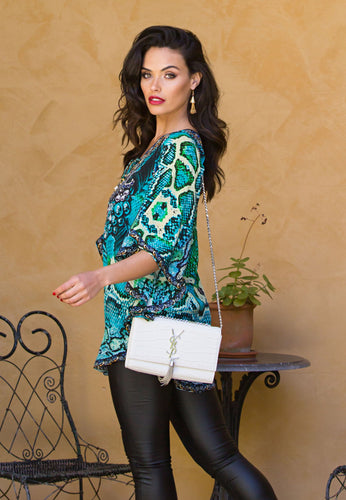 Emerald Lust - Butterfly Silk Kaftan Top-SOPHIA + CO-SOPHIA + CO